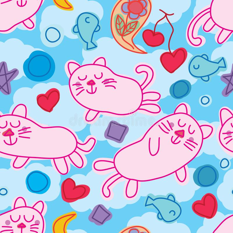 Картина мечты Дзэн кота безшовная иллюстрация штока
