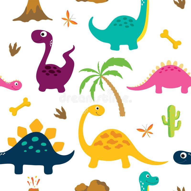 Картина милого динозавра безшовная иллюстрация вектора