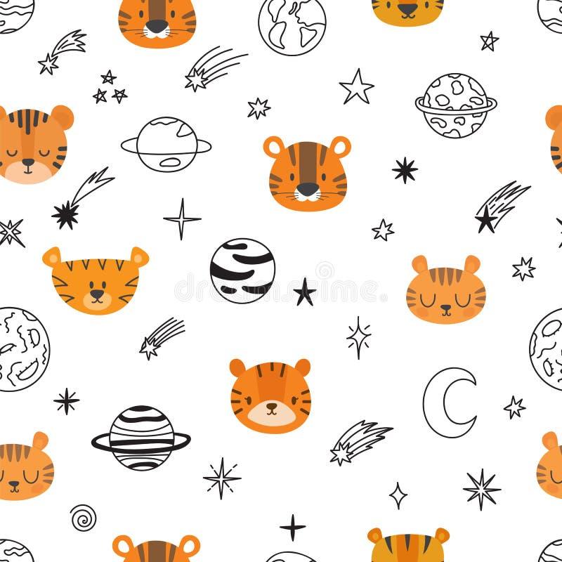 Картина милого космоса безшовная с тиграми шаржа абстрактная печать Вручите вычерченную предпосылку питомника с смешными животным бесплатная иллюстрация