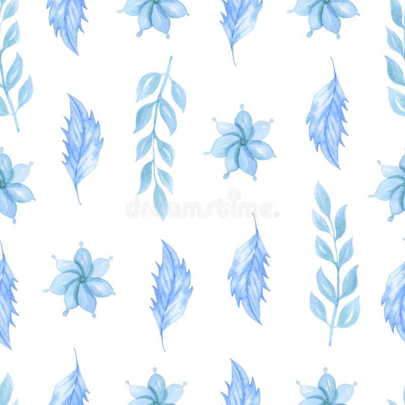 Картина милой акварели безшовная с голубыми цветками r иллюстрация вектора
