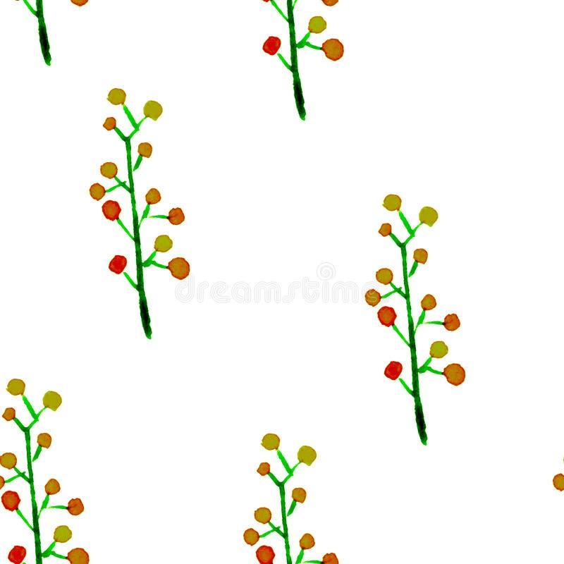 Картина милой акварели флористическая безшовная Зеленое boh иллюстрация штока
