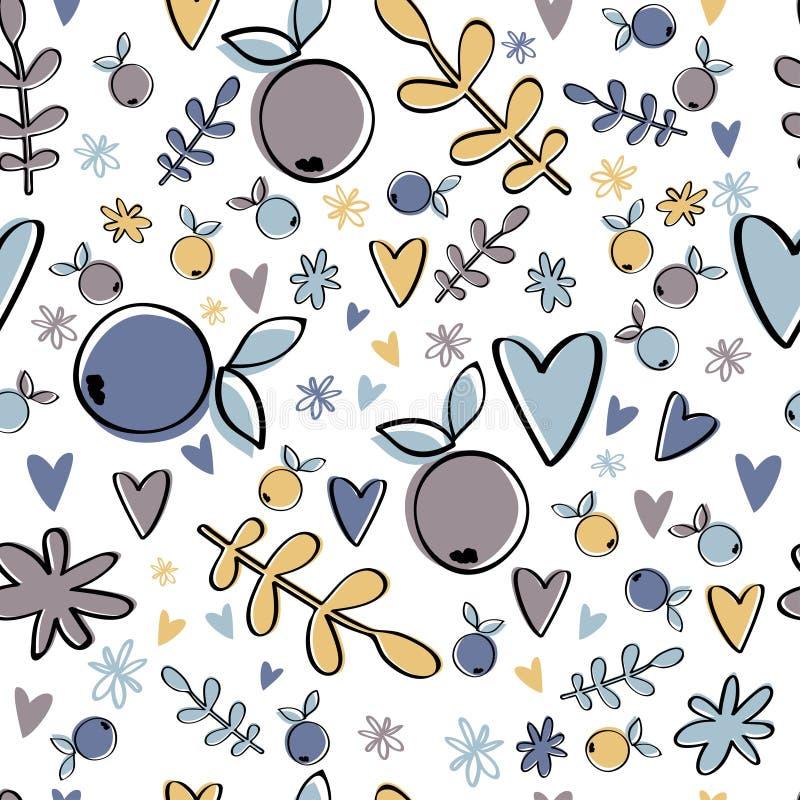Картина милой ягоды безшовная Пастельная предпосылка для дизайна детей иллюстрация вектора