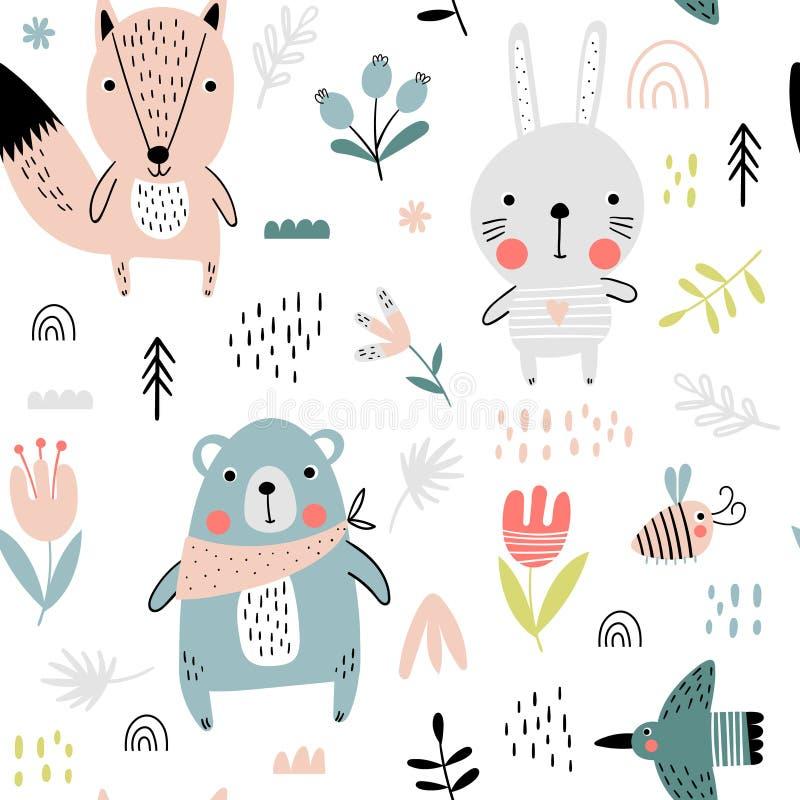 Картина милых животных леса безшовная иллюстрация вектора
