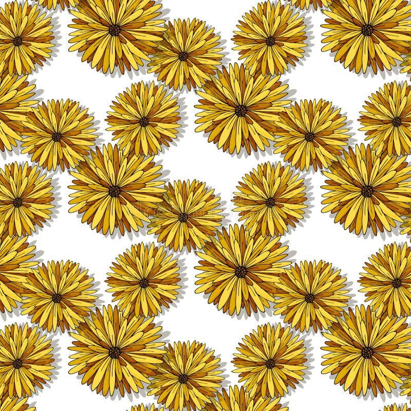 Картина милых красочных цветков безшовная на иллюстрации белой руки предпосылки вычерченной стоковое изображение rf