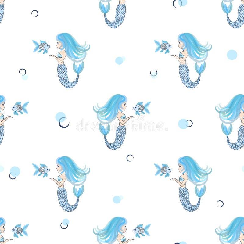 Картина милых маленьких русалок безшовная в голубых цветах иллюстрация вектора