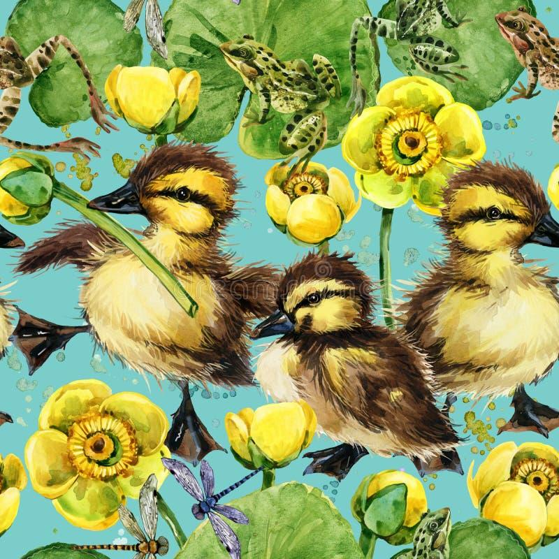 Картина милых маленьких утят безшовная бесплатная иллюстрация