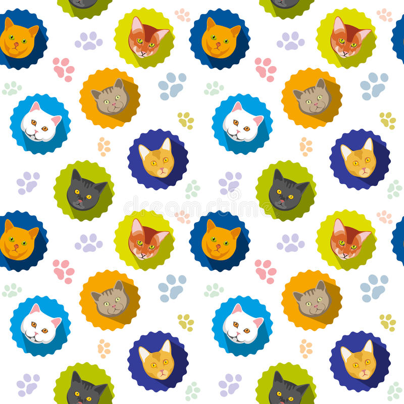 Картина милого вектора котов безшовная иллюстрация штока