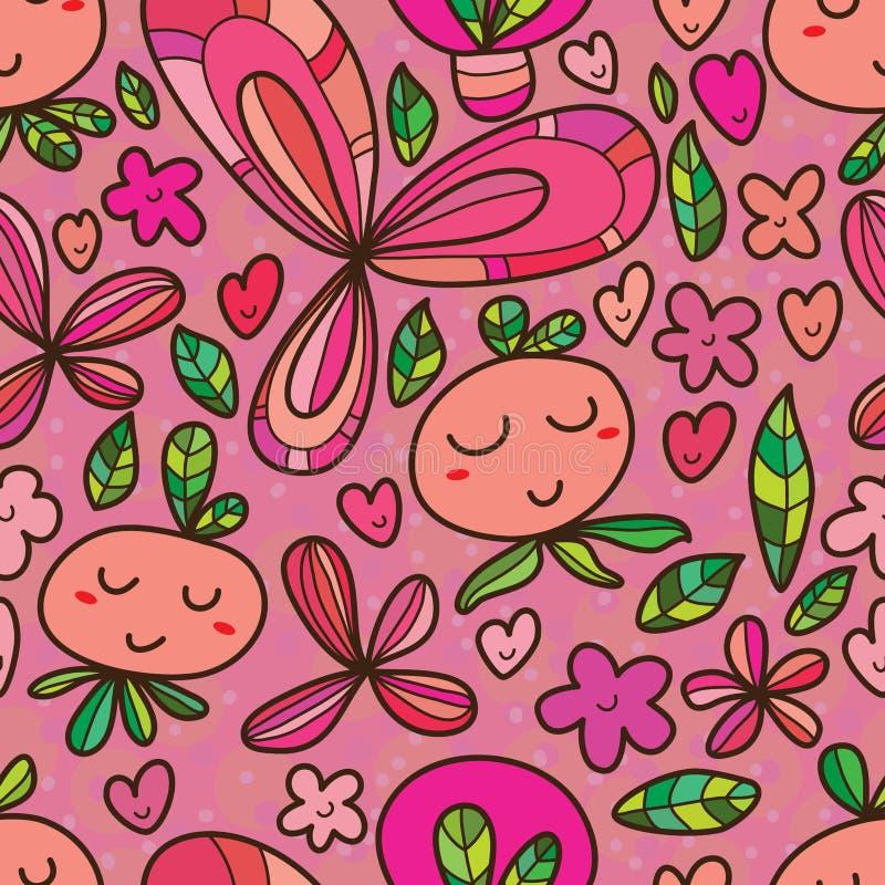 Картина милого шаржа цветка безшовная иллюстрация штока