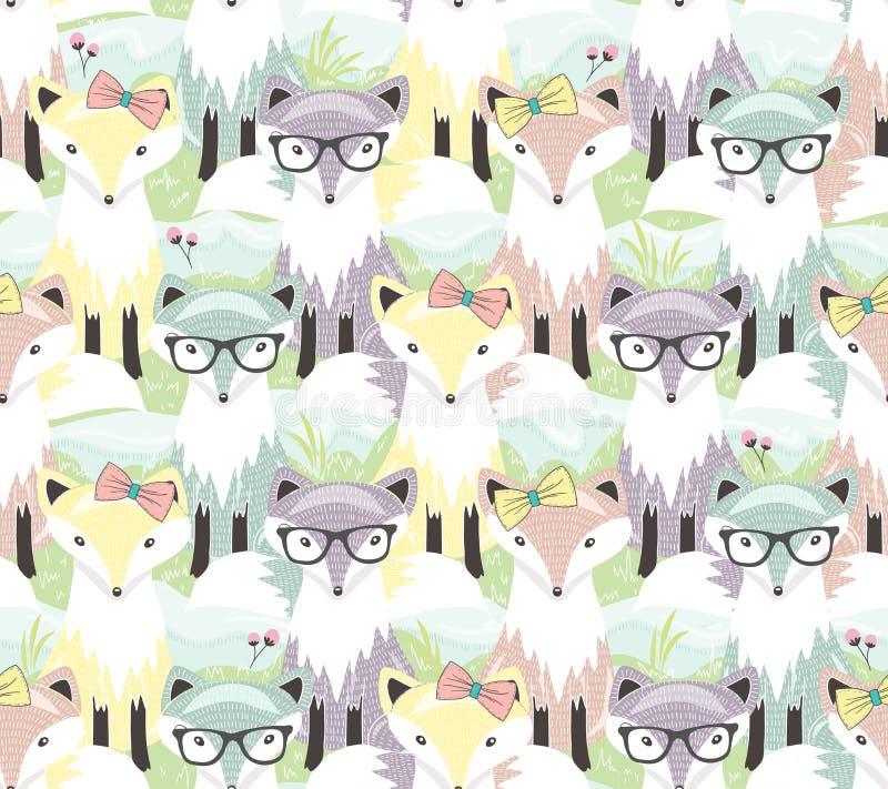 Картина милой маленькой лисы безшовная Предпосылка с животными для ch бесплатная иллюстрация