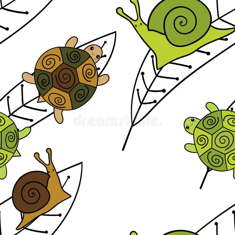Картина милых животных безшовная Иллюстрация вектора обоев Улитки и черепахи иллюстрация штока
