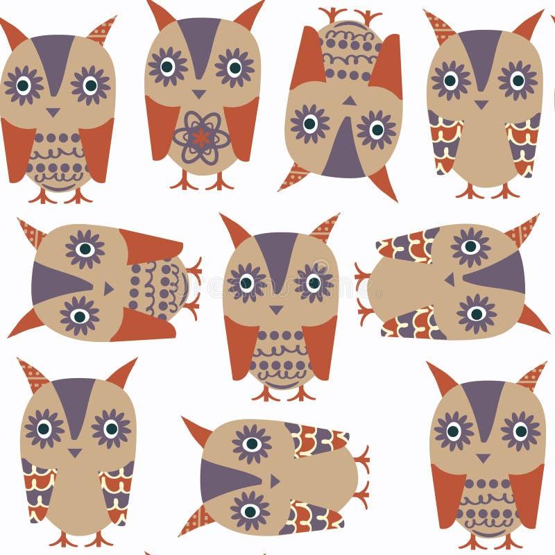 Картина милых животных сычей абстрактных безшовная Оно расположено в sw иллюстрация вектора
