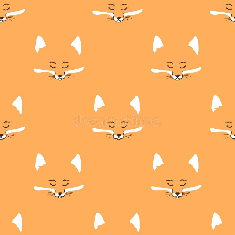 Картина милых лис безшовная иллюстрация вектора
