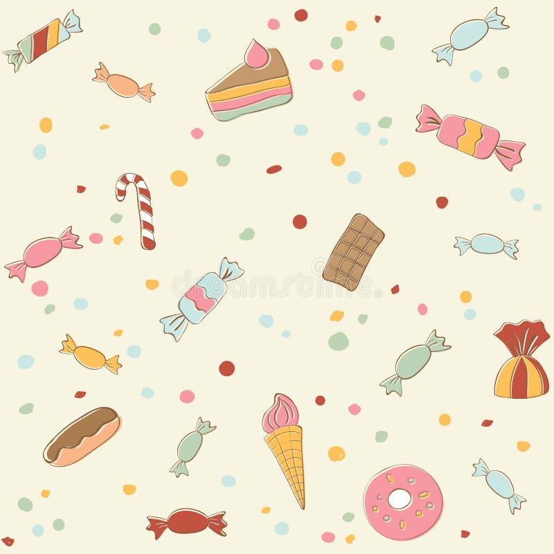 Картина милых помадок безшовная Ретро stile бесплатная иллюстрация