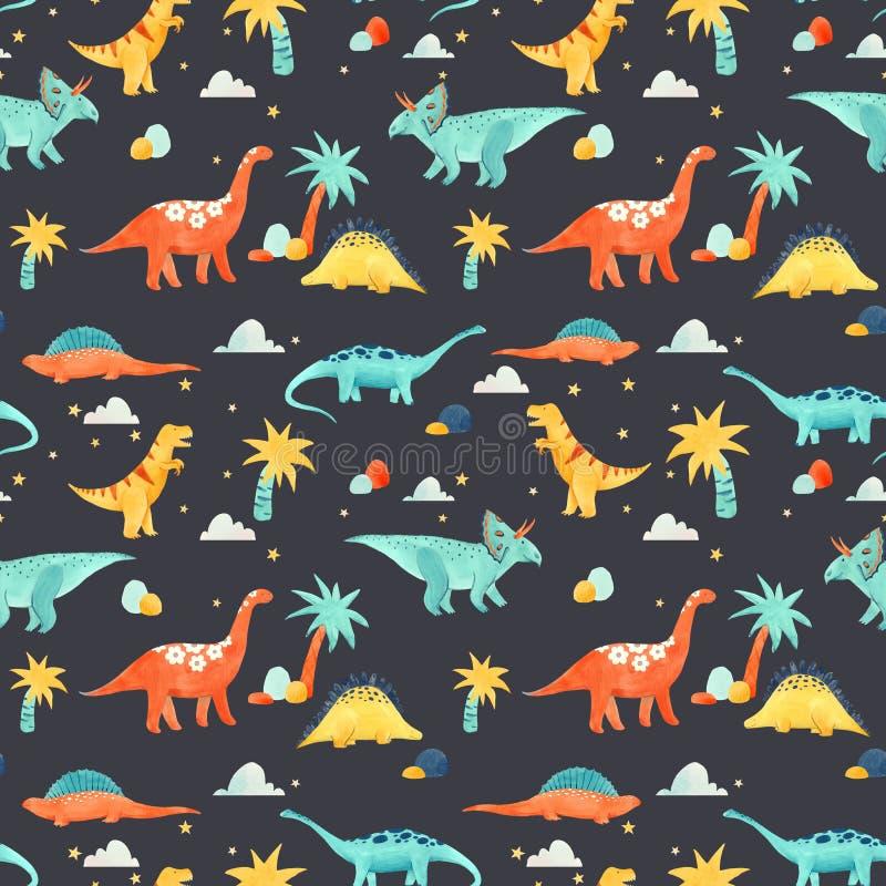 Картина младенца динозавра акварели иллюстрация вектора