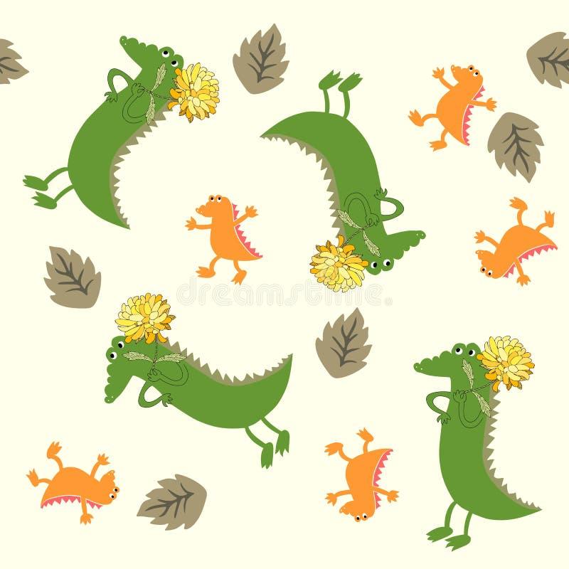 Картина младенца крокодила безшовная Иллюстрация милого мультфильма африканская животная иллюстрация штока