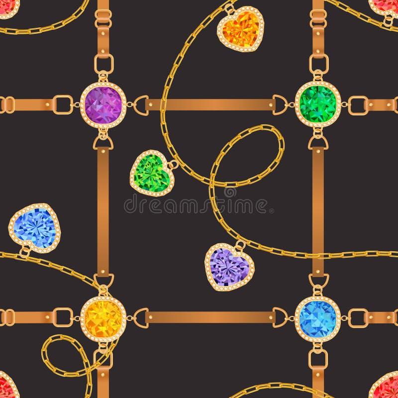 Картина моды безшовная с золотыми цепями, ремнями и самоцветами Предпосылка дизайна ткани с цепью, драгоценными камнями иллюстрация штока