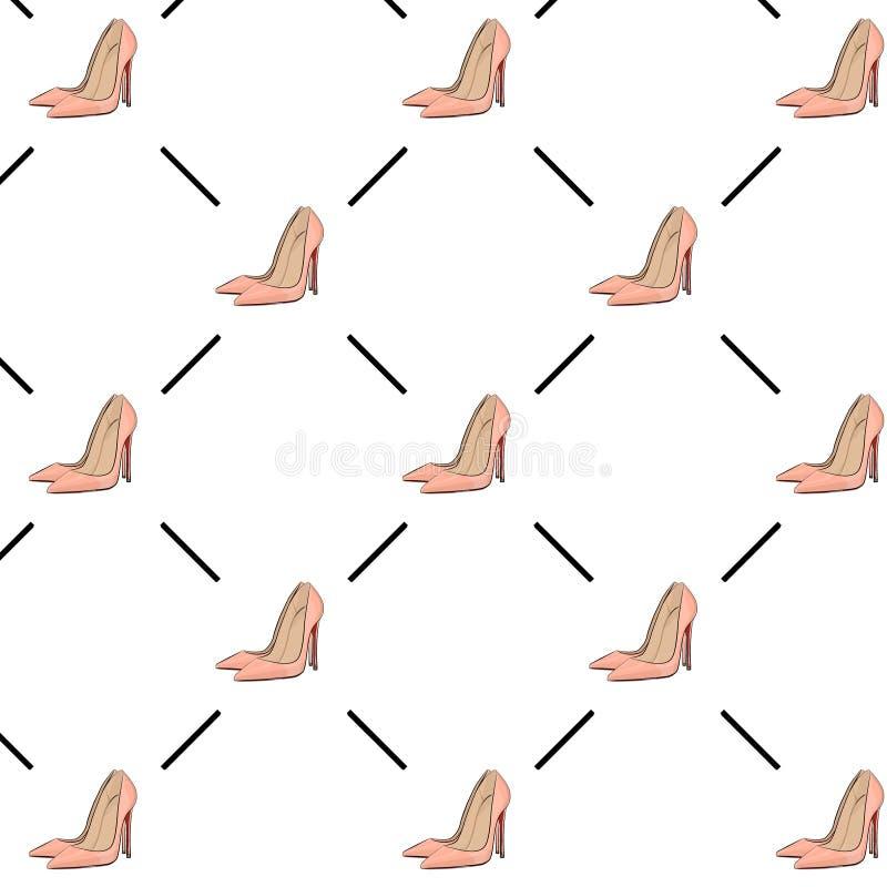 Картина моды высоких пяток вектора обнажённая Очарование обувает украшение шпилек Линия ножных насосов крышка женщины Ультрамодны иллюстрация штока