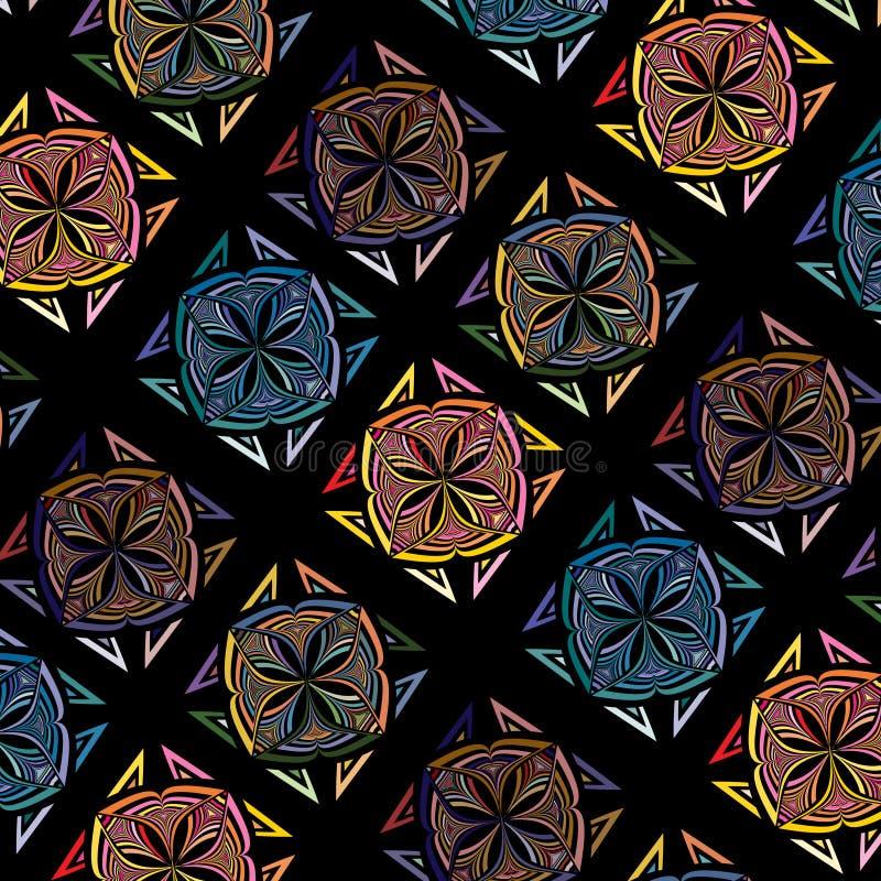 Картина мозаики абстрактной безшовной плитки вектора multicolor иллюстрация вектора