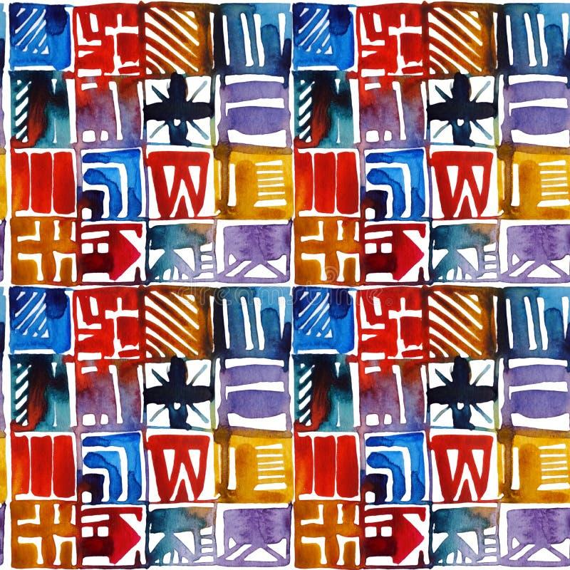 Картина мозаики акварели безшовная стоковое изображение
