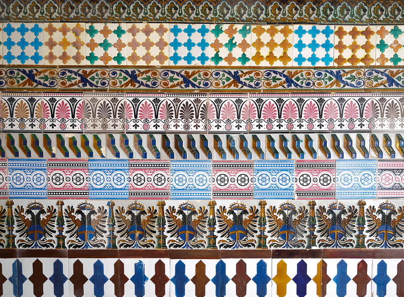 Картина мозаики на монастыре Cartuja, Севилья, Испания Фабрика Чарльза Pickman стоковое фото rf