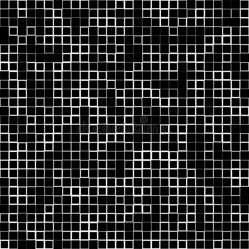 Картина мозаики с случайными квадратами - черно-белый геометрический t иллюстрация штока