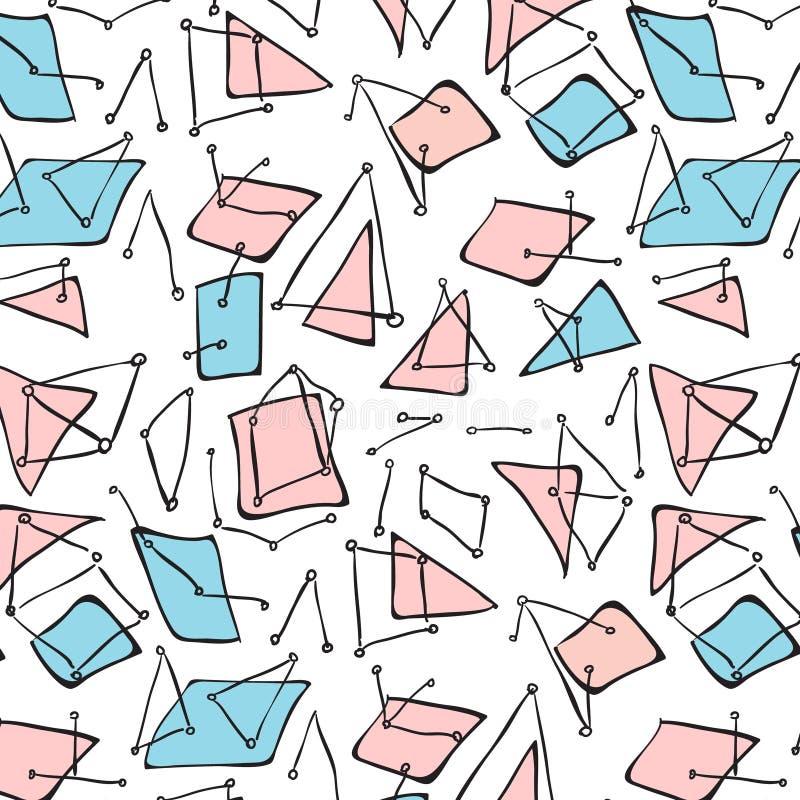 Картина мозаики ткани вектора Иллюстрация Мемфиса битника племенная геометрическая ультрамодная Орнамент холодного pstel современ иллюстрация штока