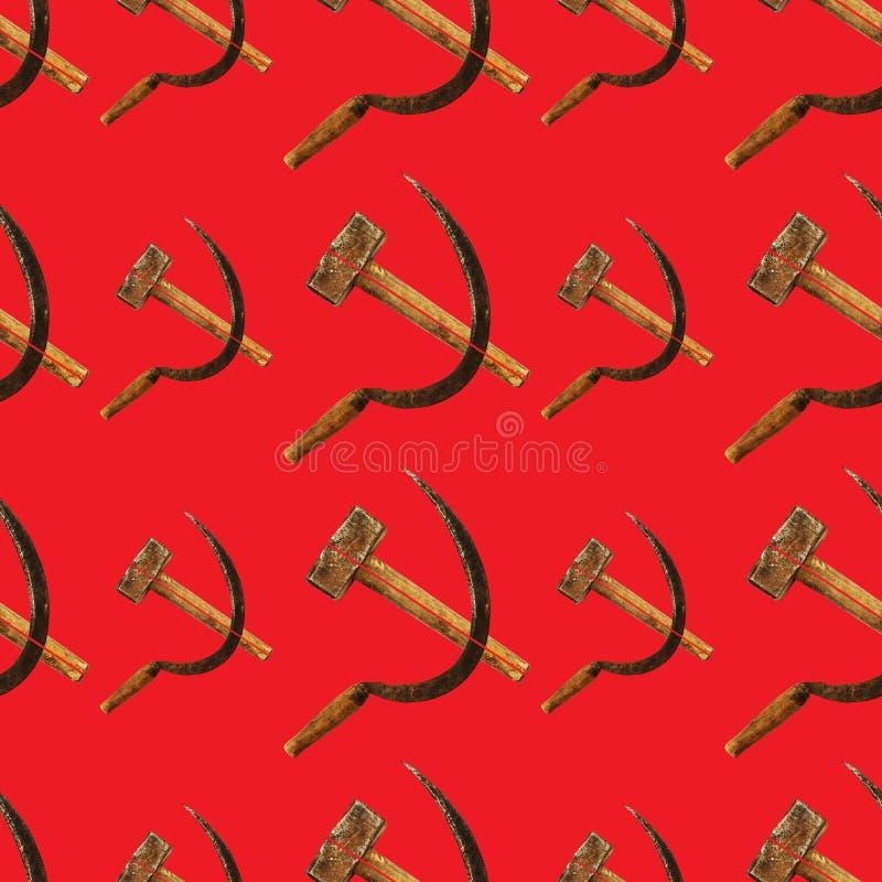 Картина молотка и серпа безшовная на красном цвете в советском стиле стоковое изображение