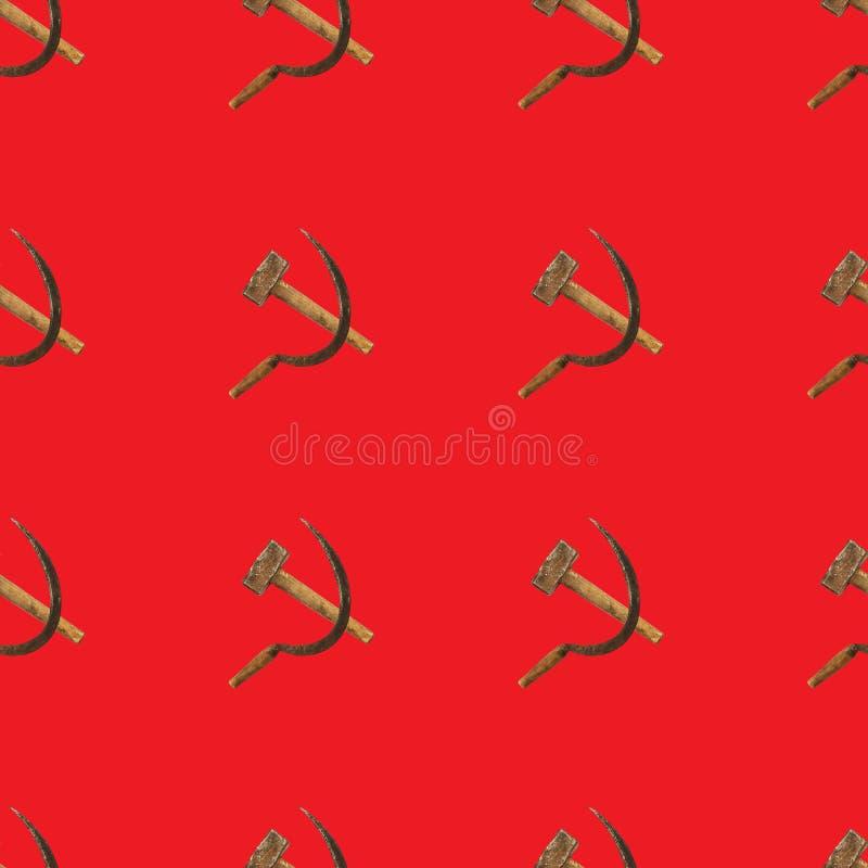 Картина молотка и серпа безшовная на красном цвете стоковые изображения