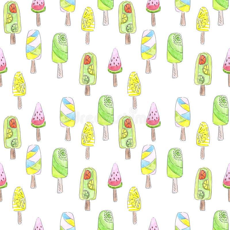 Картина мороженого акварели безшовная иллюстрация штока