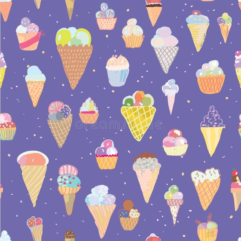 Картина мороженого безшовная - нарисованная рука иллюстрация вектора