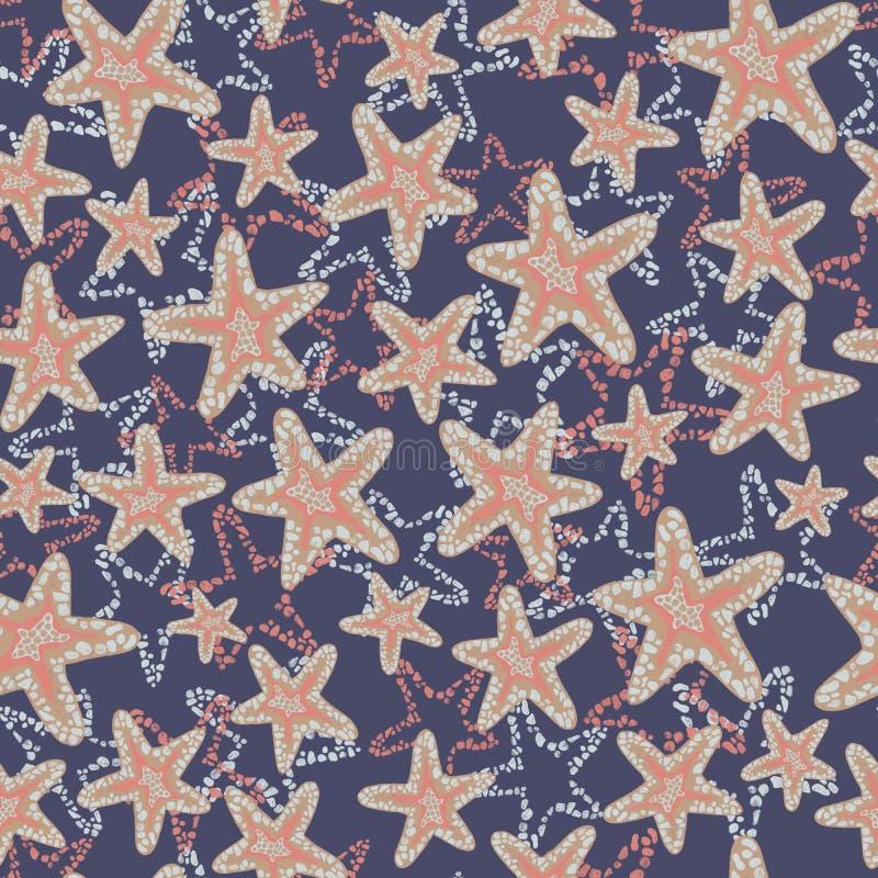 Картина морских звёзд Seastar Коралл коричневый освещает - голубые морские звезд на темно-синей предпосылке Наслоенный стиль иллюстрация штока
