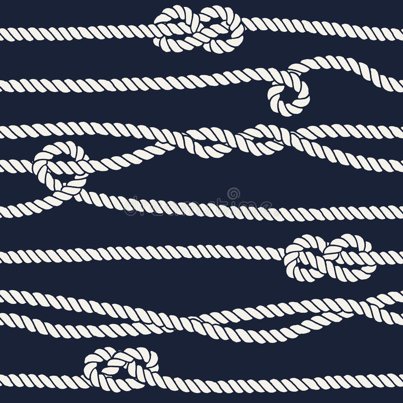 Картина морского узла веревочки безшовная иллюстрация вектора
