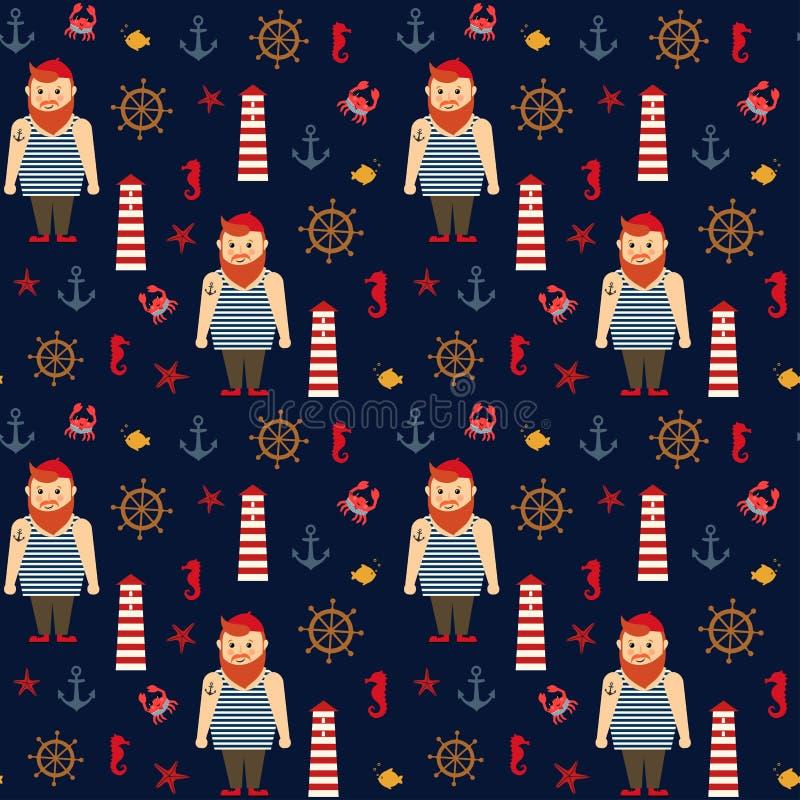 Картина моря вектора военно-морского флота безшовная: бородатые матрос, маяк, анкер и морской конек бесплатная иллюстрация