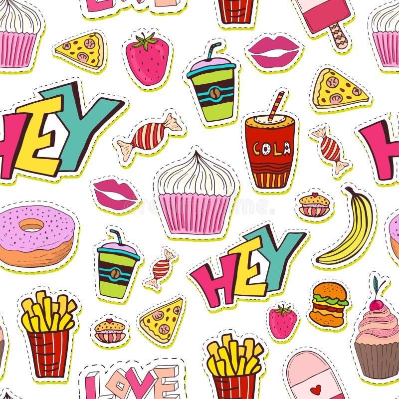 Картина моды безшовная с заплатами Предпосылка шаржа в стиле 80s 90s шуточном ультрамодном Иллюстрация вектора яркая иллюстрация штока