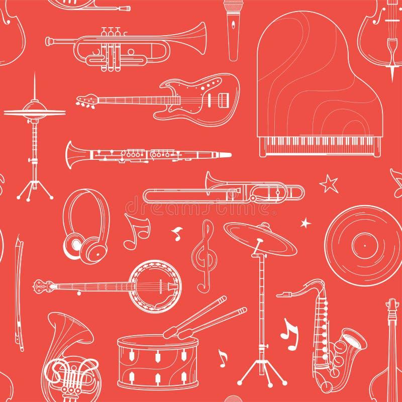 Картина музыкального плана оркестра белого безшовная иллюстрация вектора