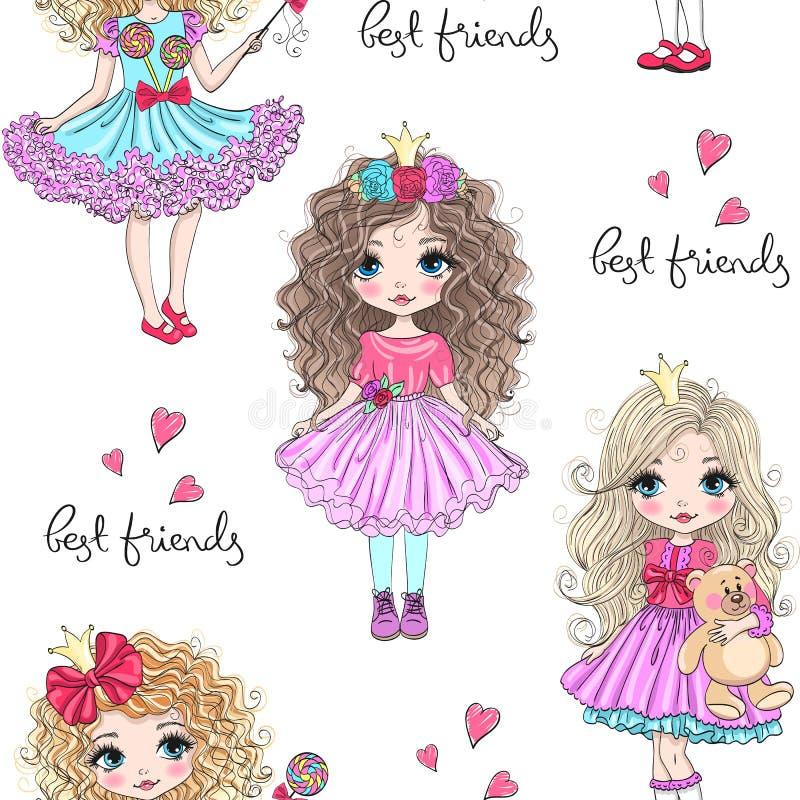 Картина мультфильма безшовная с девушками принцессы руки вычерченными милыми маленькими r иллюстрация штока