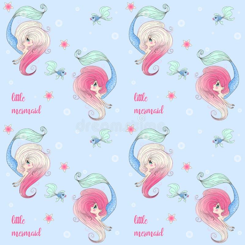 Картина мультфильма безшовная с красивой, прекрасной, маленькой девушкой русалки иллюстрация вектора