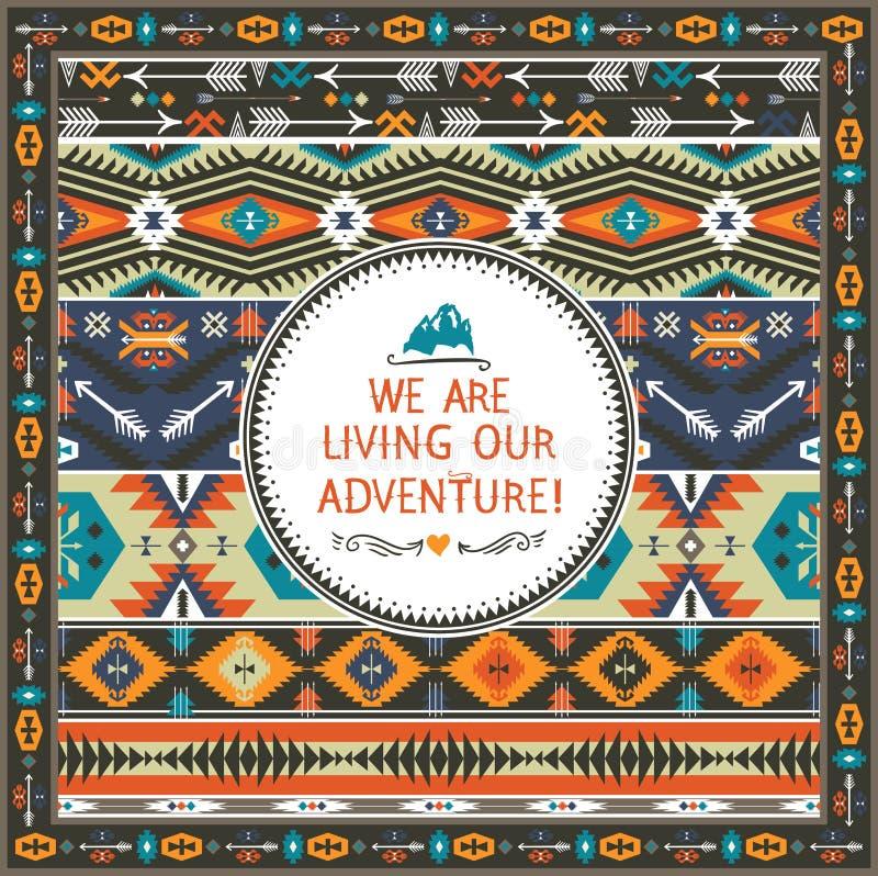 Картина Навахо безшовная племенная красочная бесплатная иллюстрация