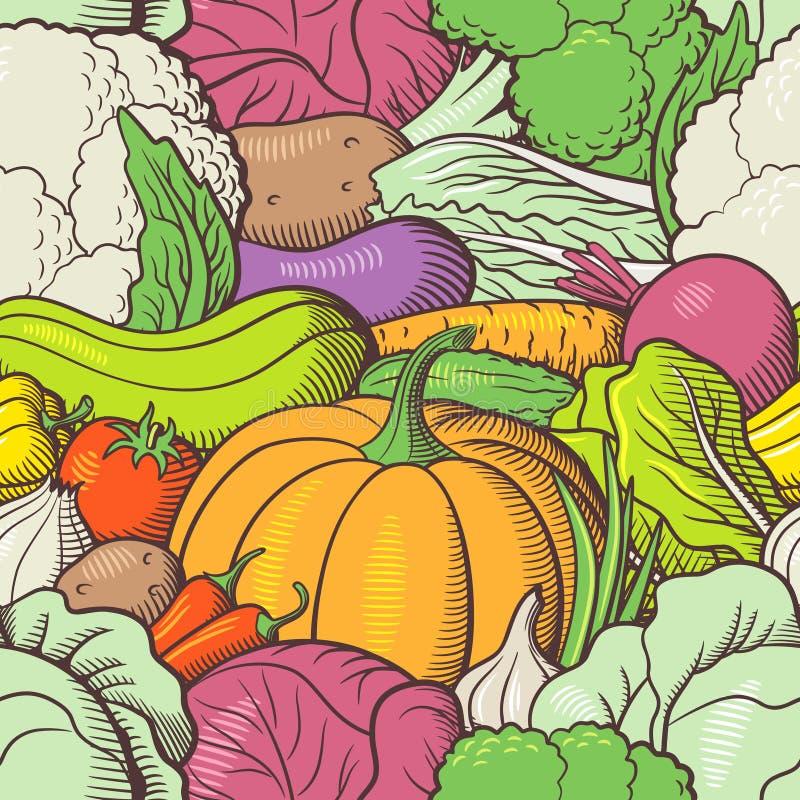 Картина нарисованная рукой безшовная с овощами иллюстрация штока