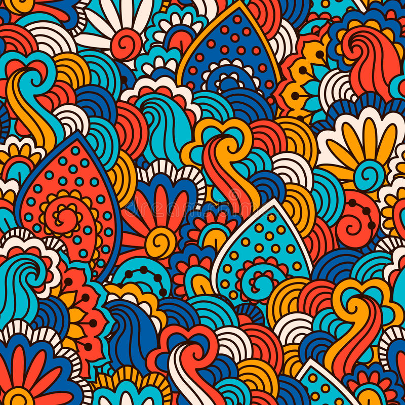 Картина нарисованная рукой безшовная с флористическими элементами иллюстрация вектора