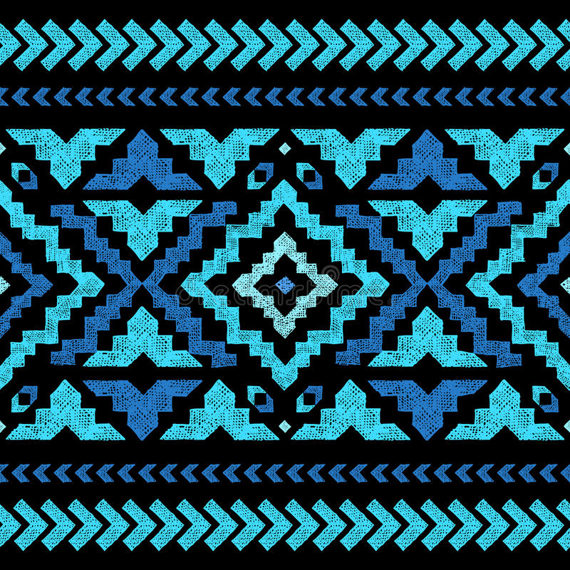 Картина нарисованная рукой племенная безшовная иллюстрация вектора