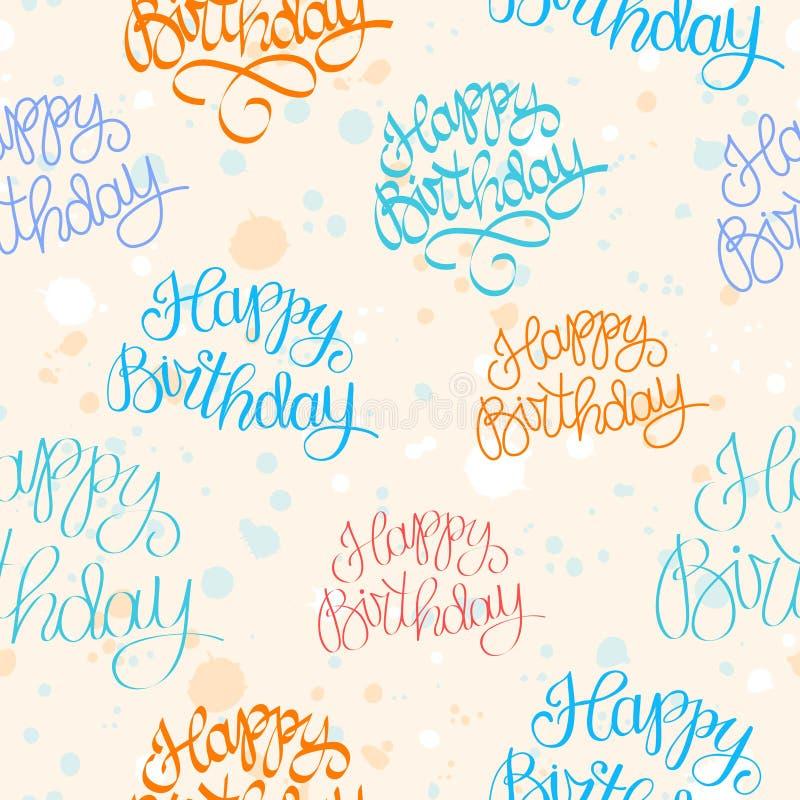Картина нарисованная рукой с днем рождения иллюстрация штока