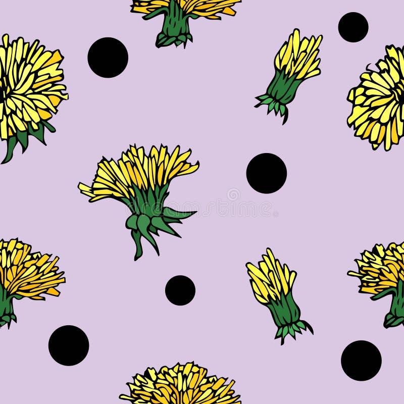 Картина нарисованного вручную цветка вектора безшовная с одуванчиком и пунктами иллюстрация вектора