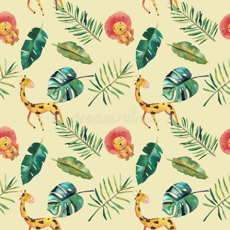 Картина нарисованной вручную акварели безшовная Зеленые тропические листья и дикие животные: monstera, жираф, лев бесплатная иллюстрация