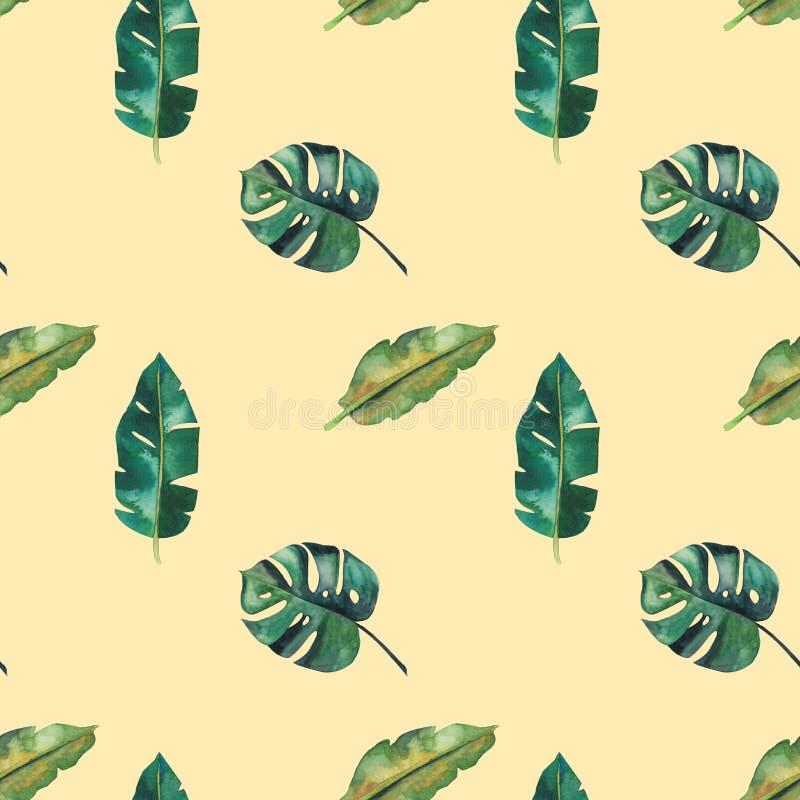 Картина нарисованной вручную акварели безшовная Зеленые тропические листья иллюстрация штока