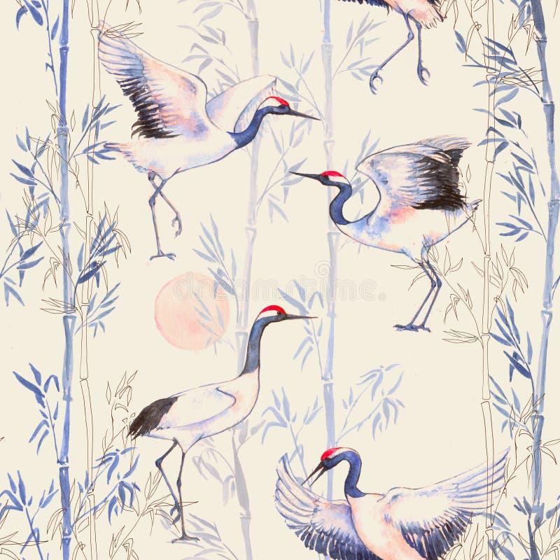 Картина нарисованной вручную акварели безшовная с белыми японскими танцами вытягивает шею иллюстрация штока
