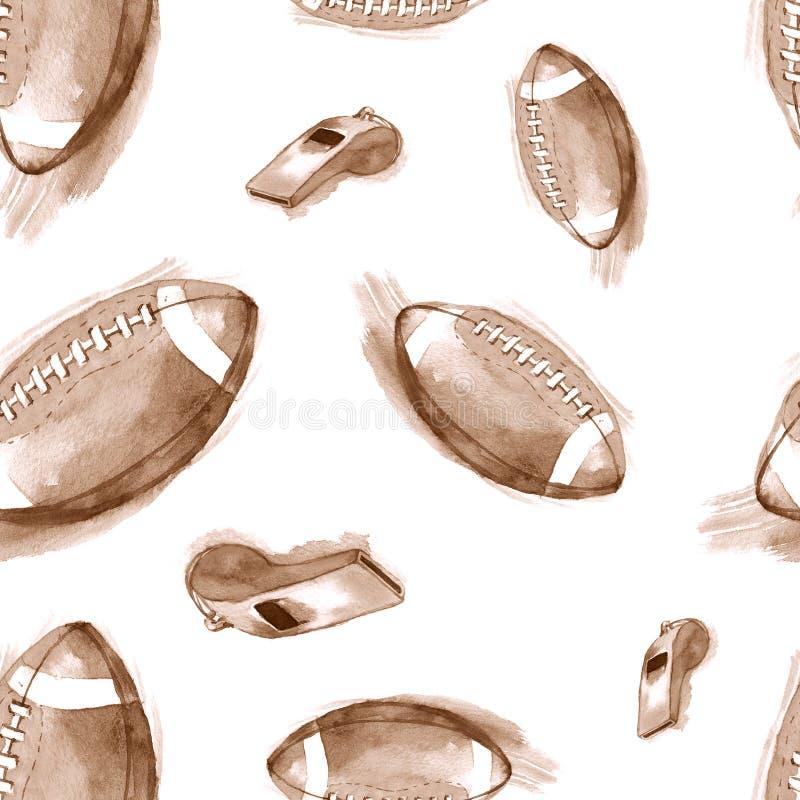 Картина нарисованной вручную акварели безшовная с шариками и свистками американского футбола иллюстрация штока