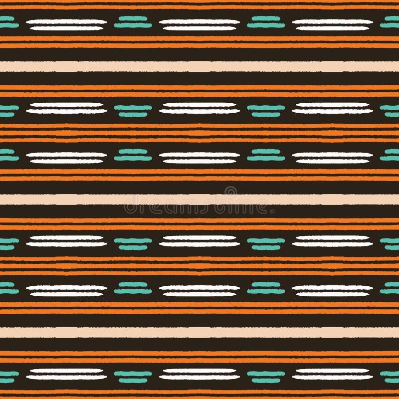 Картина нашивок красочной руки вычерченная горизонтальная r Неровные шаткие этнические племенные линии Органическая классика иллюстрация вектора