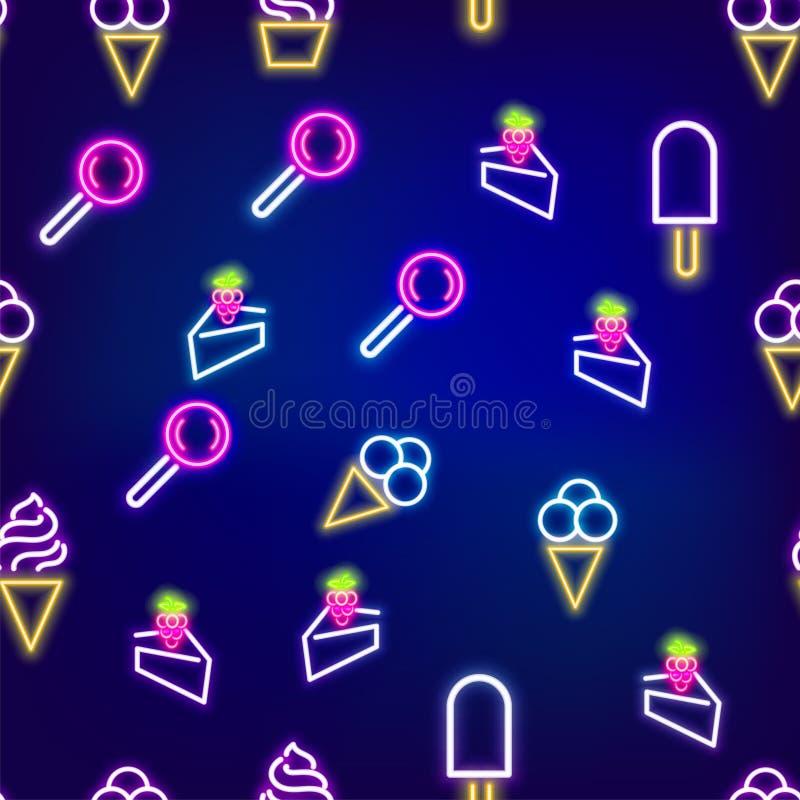 Картина неоновой еды безшовная бесплатная иллюстрация