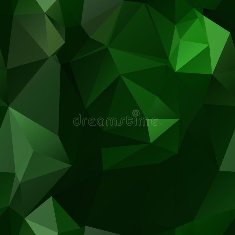 Картина низких треугольников полигона безшовная в зеленых цветах иллюстрация штока